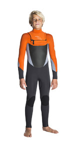 Rip Curl Junior Dawn Patrol 3/2mm Wetsuit Chest Zip Wsm7eb - Cinza / Laranja