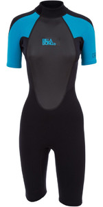 2019 Billabong Dames Launch 2mm Shorty Back Zip Wetsuit Zwart / Turquoise S42G03 Met Rits