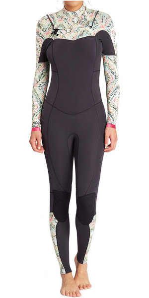 2018 Billabong Ladies Salty Dayz 4 / 3mm Chest Zip petto ALOE F44G16
