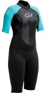 Gul Response 3 / 2mm Junior Flatlock Shorty Wetsuit Zwart / Turquoise RE3321-A9