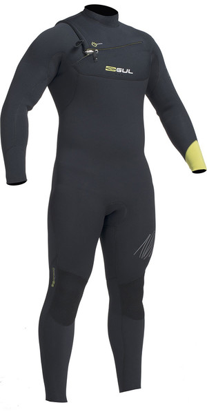2018 Gul Response 5 / 4mm Chest Zip GBS Wetsuit Negro / Lima RE1242-B1