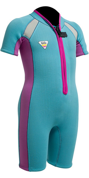 Gul SeaSpray Toddler 3 / 2mm Flatlock Shorty SS3301 Turchese / Rosa - 2 °