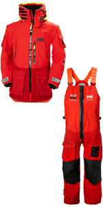 2019 Helly Hansen Aegir Ocean Jacket 30335 & Broek 36269 Combi Set Alert Red