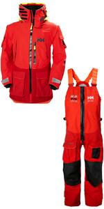 2019 Helly Hansen Aegir Ocean Veste 30335 & Trouser 36269 Combi Set Alerte Rouge