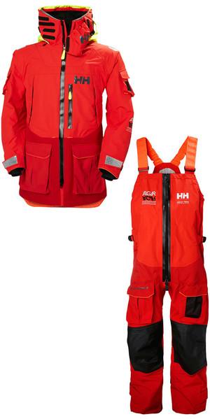 2019 Helly Hansen Aegir Ocean Jacket 30335 y pantalón 36269 Combi Set Alert Red