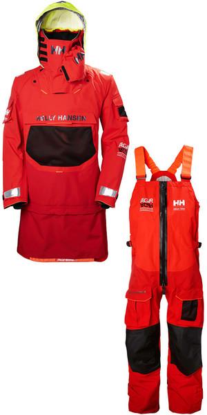 2018 Helly Hansen Aegir Ocean Dry Top 32006 & Trouser 36269 Combi Set Alert Red