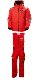 2019 Helly Hansen Aegir Race Jacket 33869 & Salopette 33871 Combi Set Alert Red