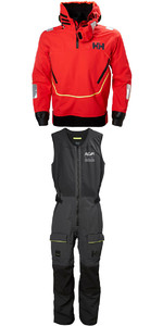 2019 Helly Hansen Aegir Race Smock 33870 & Salopette 33871 Combi Set Alert Red / Ebony