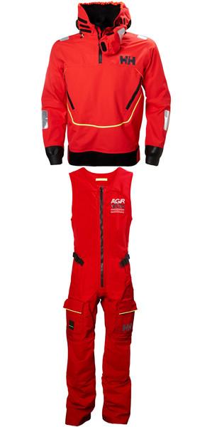 2019 Helly Hansen Aegir Race Smock 33870 & Salopette 33871 Combi Set Alert Red