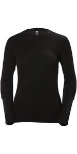 2019 Helly Hansen Womens HH Lifa Merino Crew Base Layer Top Black 48341