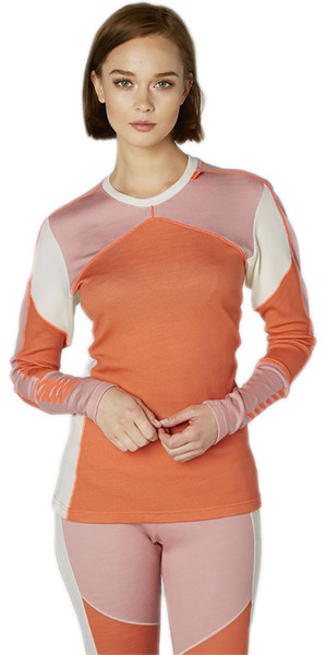 2018 Helly Hansen Ladies HH Lifa Merino Crew Base Layer Top Living Coral 48341