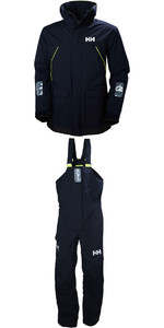 2019 Helly Hansen Pier Coastal Jacke 33872 & Hosen 33900 Kombi - Set In Navy