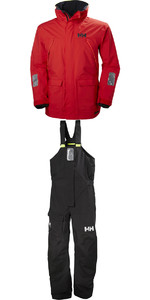 2019 Helly Hansen Pier Coastal Jacke 33872 & Hosen 33900 Kombi - Set In Alarm Rot / Ebenholz