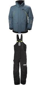 Helly Hansen Pier Coastal Jacke 33872 & Hose 33900 Combi Set in Blau Mirage / Ebony