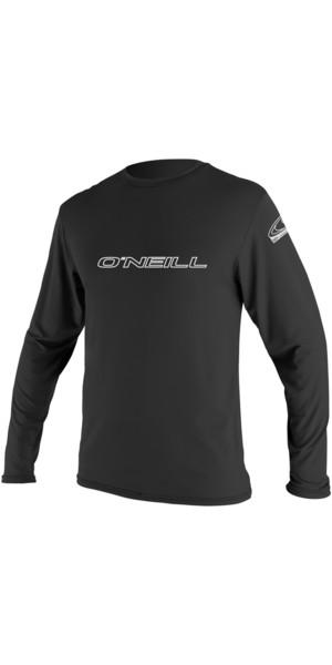 2019 O'Neill Basic Skins Langarm-Ausschlag-T-Shirt BLACK 4339