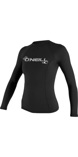 2019 O'Neill Ladies Basic Skins manches longues Rash Vest BLACK 3549