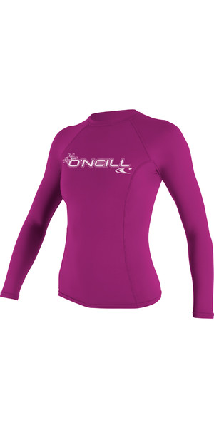 2019 O'Neill Ladies Basic Skins manches longues Rash Vest FOX PINK 3549