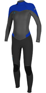 O'Neill Womens Flair 4 / 3mm Voltar Zip Wetsuit PRETO / GRAPH / TAHITIAN AZUL 4766