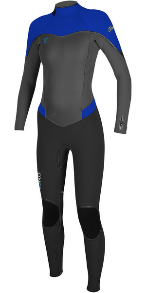 2018 O'Neill Ladies Flair 4 / 3mm Zip posteriore Muta NERO / GRAFICO / TAHITIAN BLU 4766
