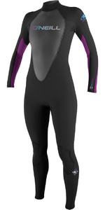 2018 O'Neill Ladies Reactor 3 / 2mm Back Zip Flatlock Wetsuit PRETO / UV 3800 - 2ND