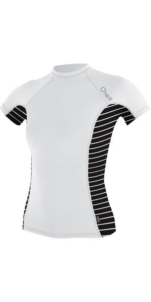 O'Neill Womens Side Print Short Sleeve Crew Rash Vest WHITE / COASTAL 4905S