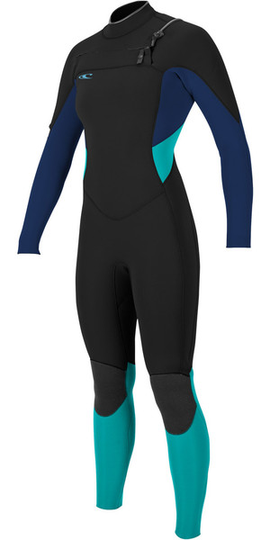 2018 O'Neill Ladies Supertech 3 / 2mm Chest Zip GBS Wetsuit NEGRO / MARINO / AQUA 4854