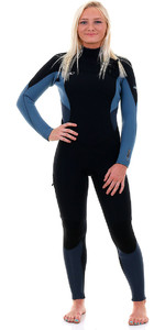 O'Neill Womens Supertech 4 / 3mm Bryst Zip GBS Wetsuit Black / Dusty Blue / Slate 4855