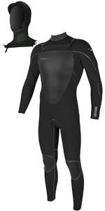 2018 O'Neill Mutant 5 / 4mm Hooded Zip Zip Wetsuit BLACK 4762