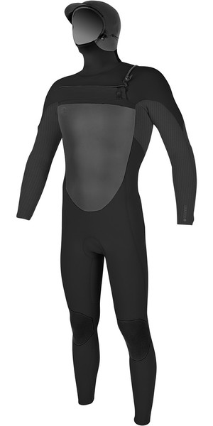 2018 O'Neill O'riginal 6/5 / 4mm Hooded Zip Zip Wetsuit BLACK / GRAPHITE 4973