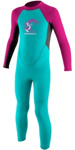 2019 O'neill Criança Reactor 2mm Back Zip Wetsuit Aqua / Berry 4868