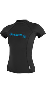 2019 O'Neill Dame Basic Skins Short Sleeve Crew Rash Vest BLACK 3548