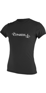 2020 O'Neill Dames Basic Skins Rash T-shirt Met Korte Mouwen Zwart 3547