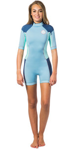 Rip Curl Dawn Patrol 2mm Tilbage Zip Spring Shorty Wetsuit BLUE ICE WSP4FW