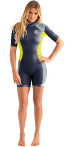 Rip Curl Mulheres Dawn Patrol 2mm Back Zip Spring Shorty Wetsuit Spring Shorty Carvão Wsp4fw