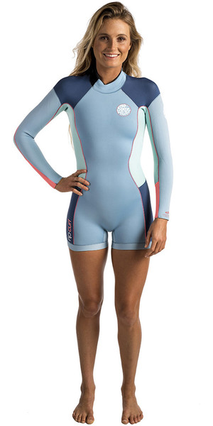 Rip Curl Dawn Patrol Long Sleeve 2mm Back Zip Shorty Wetsuit BLUE ICE WSP4GW