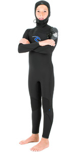 Rip Curl Junior Flashbomb 5 / 3mm GBS Chest Zip con cappuccio Steamer Wetsuit NERO WSM6HB