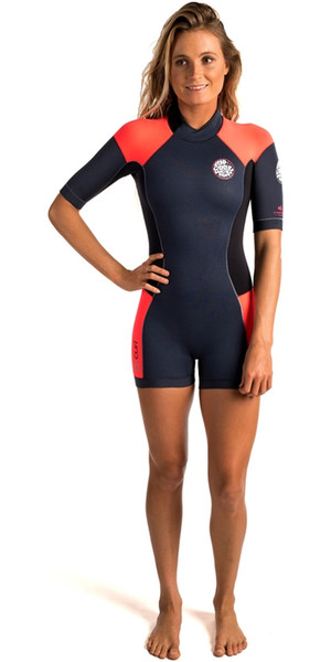 Rip Curl Womens Dawn Patrol 2mm Back Zip Shorty Wetsuit SLATE WSP4FW