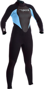2019 Typhoon Junior Girls Storm 3/2mm Back Zip Wetsuit Black / Glacier Blue 250941