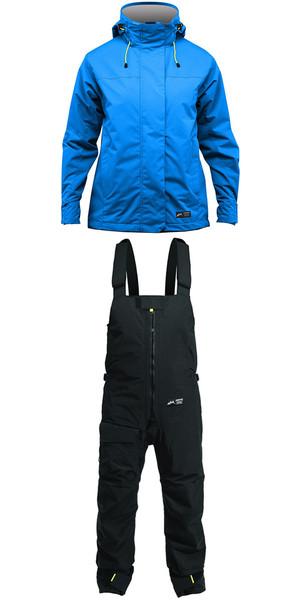 2019 Zhik Kiama Womens Harbour & Inshore Jacket J101W y pantalón TR101 Combi Set Cyan / Black