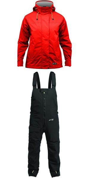 2019 Zhik Kiama Womens Harbour & Inshore Jacket J101W y pantalón TR101 Combi Set Flame Red / Black