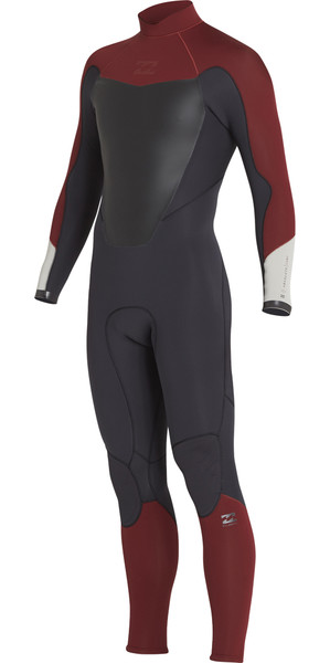 2018 Billabong Absolute 3/2mm Back Zip Flatlock Wetsuit BIKING RED H43M15