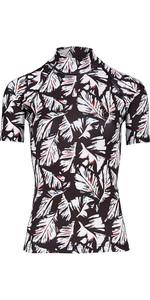 2018 Billabong Womens Flower Kurzarm Rash Vest FEATHER BLACK H4GY03
