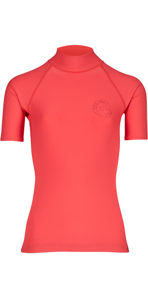 2018 Billabong Womens Logo Colour Short Sleeve Rash Vest PASSION FRUIT H4GY07