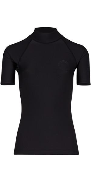 2018 Billabong Womens Logo Colour Short Sleeve Rash Vest BLACK PEBBLE H4GY07