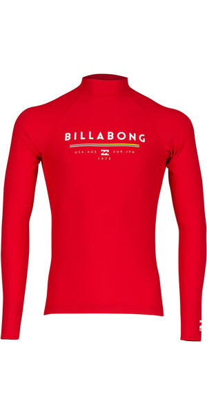 2018 Billabong Einheit Long Sleeve Rash Weste RED H4MY02