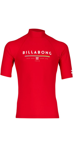 2018 Billabong Unity Short Sleeve Rash Vest ROJO H4MY01