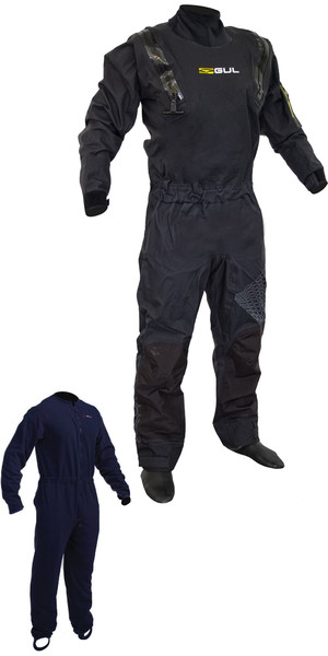 2019 Gul / Junior Code - Zero Stretch - U-Zip- Drysuit Schwarz GM0368-B5 INKLUSIVE UNTERFLEECE
