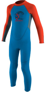 2021 O'Neill Toddler Reactor 2mm Back Zip Wetsuit BLUE / NEON RED 4868