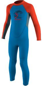 2019 O'neill Toddler Reactor Traje De Neopreno Con Back Zip 2mm Azul / Rojo Neón 4868