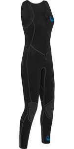 2020 Palm Dames Quantum 3mm Neopreen Front Zip Long John Wetsuit Zwart 12236